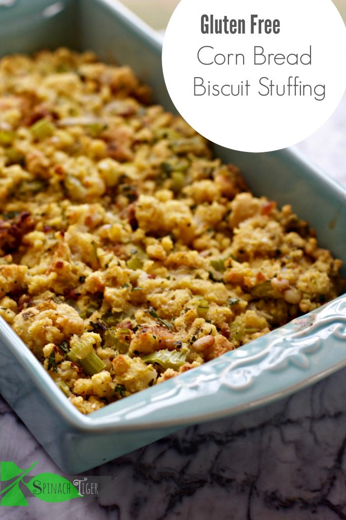 Gluten Free Cornbread Biscuit Stuffing Recipe from Spinach Tiger