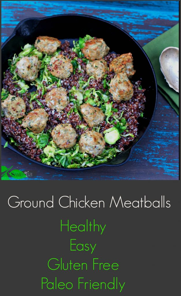 Healthy Ground Chicken Meatballs from Spinach Tiger