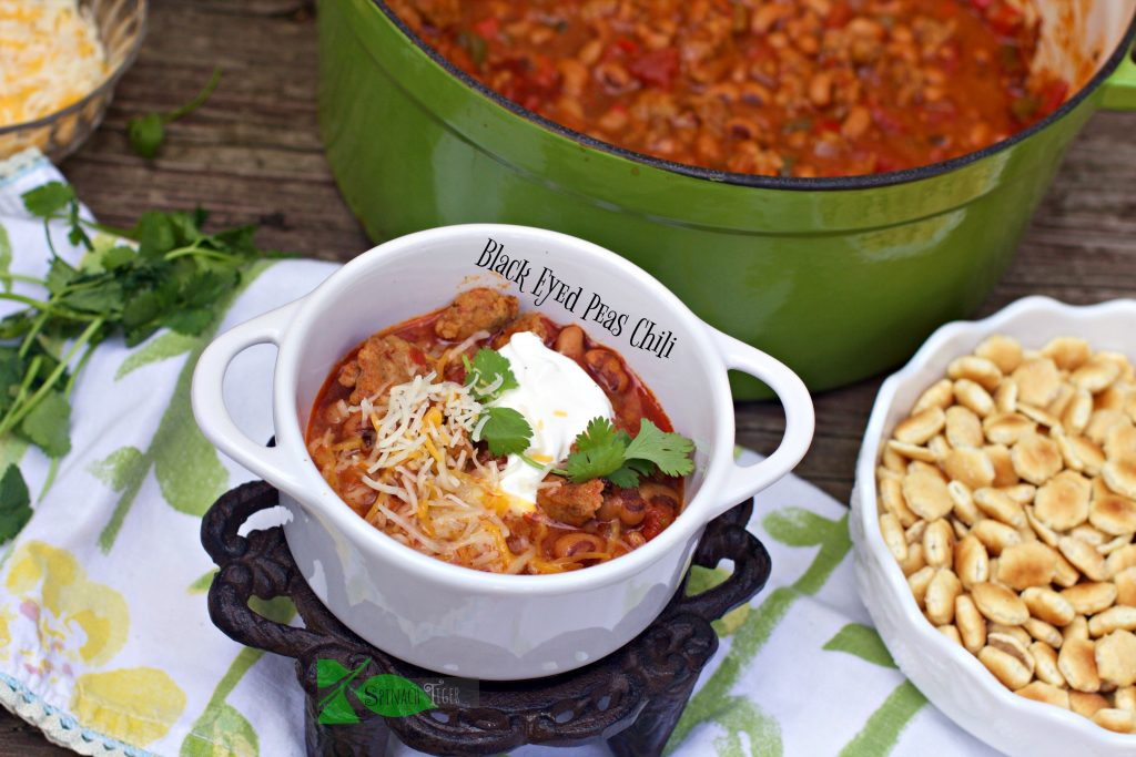 Country Sausage Black Eyed Pea Chili from Spinach Tiger