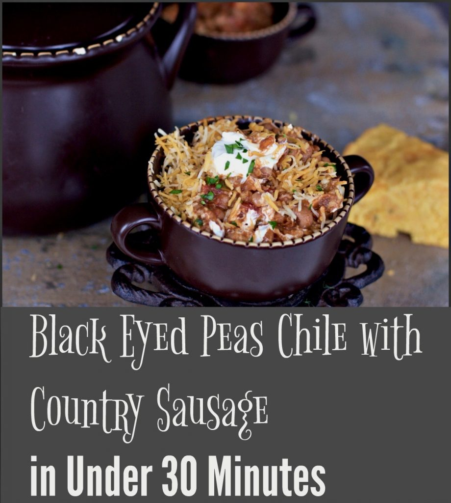 Make Black-eye peas chili with country sausage from Spinach Tiger
