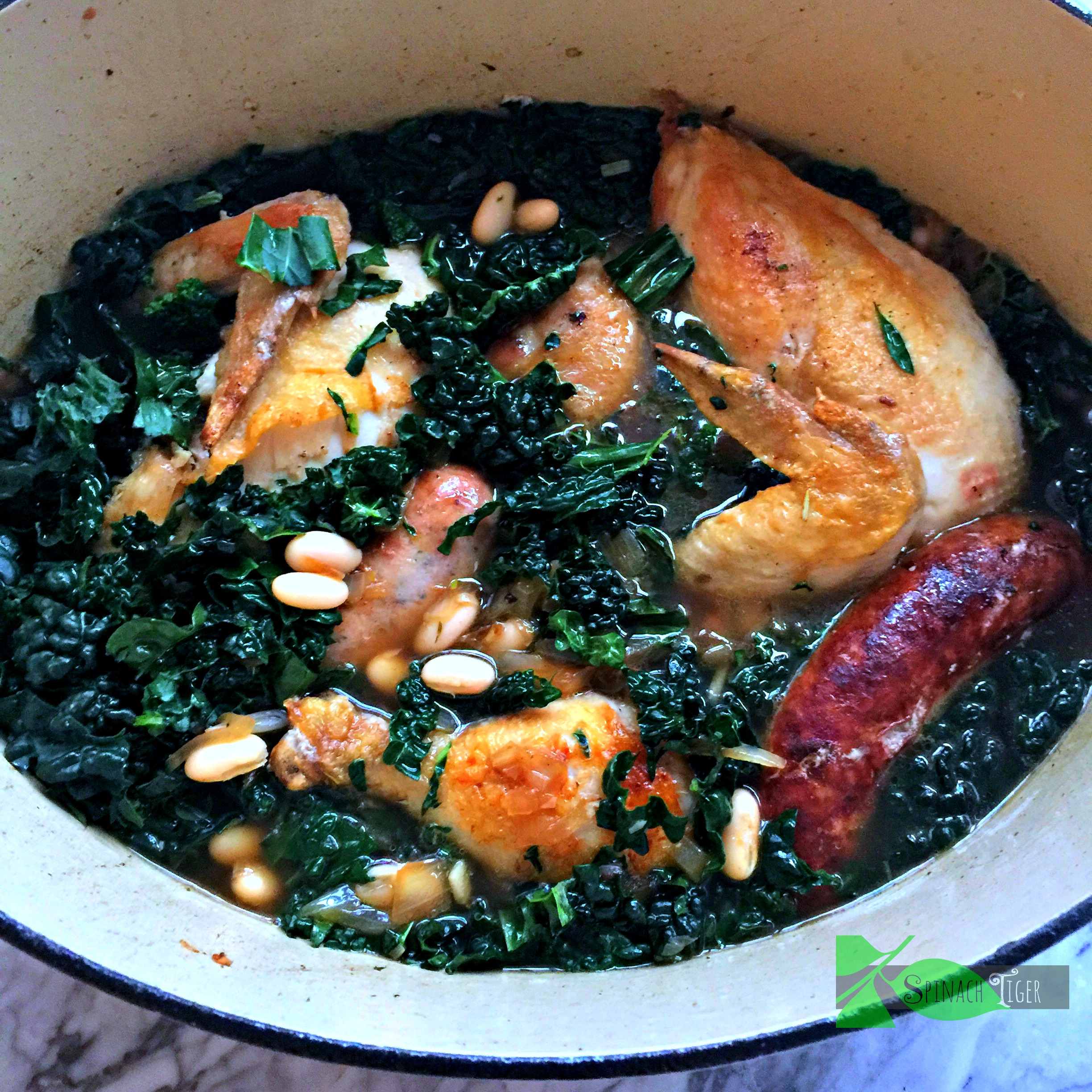 One Pot Chicken with Sausage, Kale and Beans from Spinach Tiger