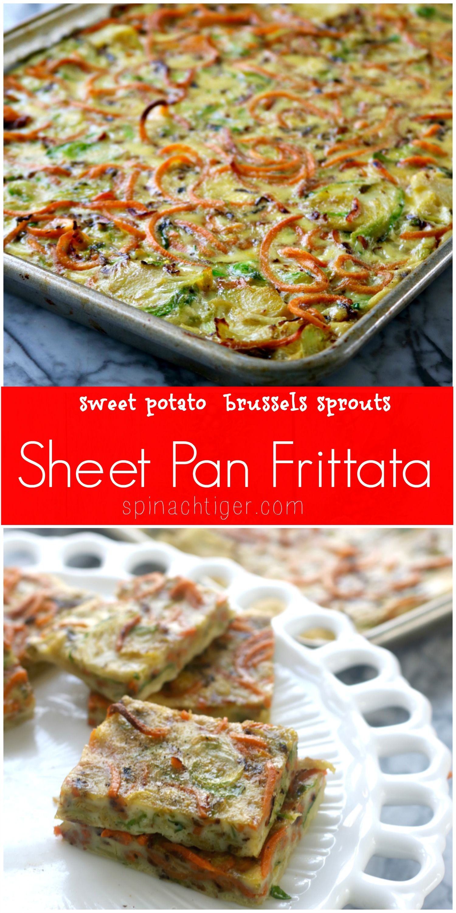 Potluck Sheet pan frittata, a vegetarian frittata recipe from Spinach Tiger