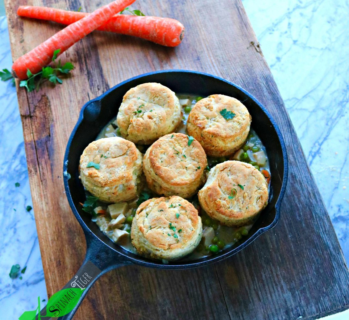 Gluten Free Chicken Pot Pie with Biscuits from Spinach Tiger