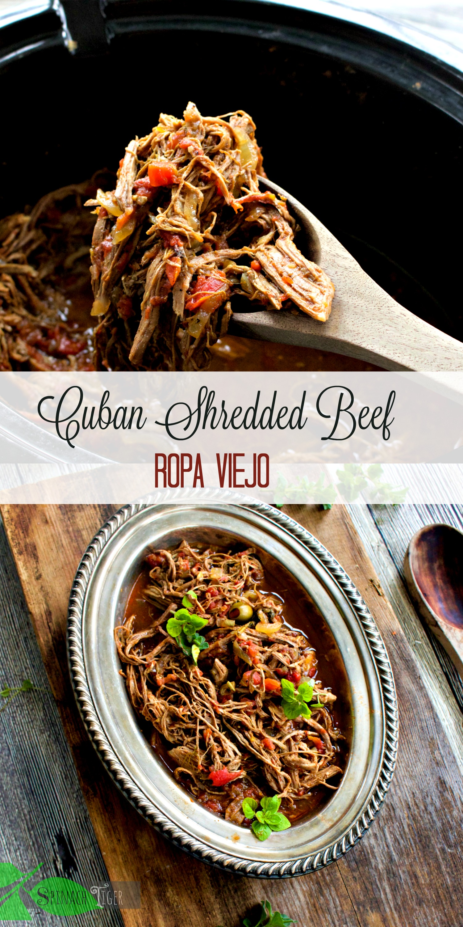 Crockpot Ropa Viejo, Shredded Cuban Beef, from Spinach Tiger