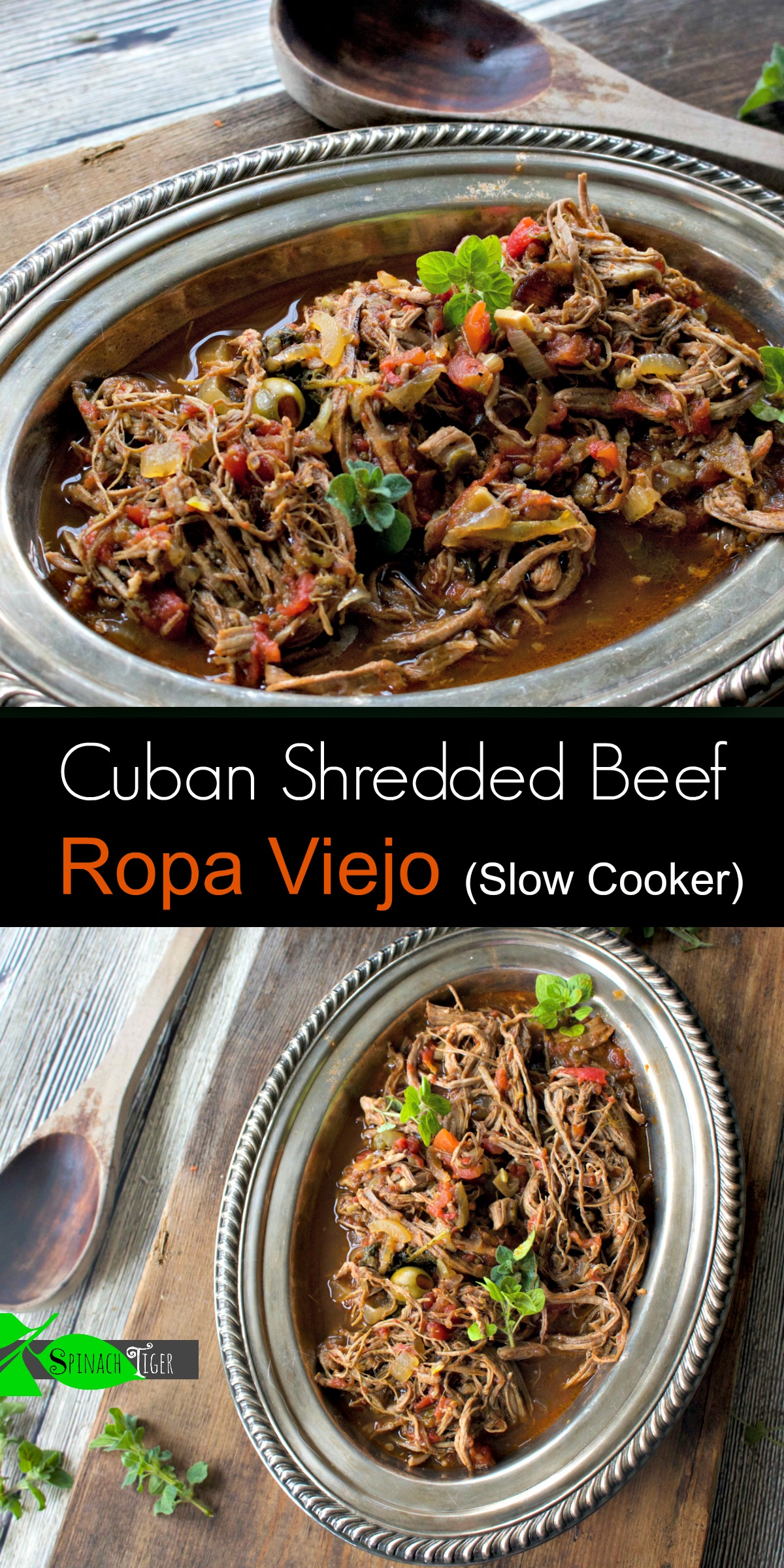 Make Ropa Viejo, Cuban Shredded Beef in slow cooker from Spinach Tiger