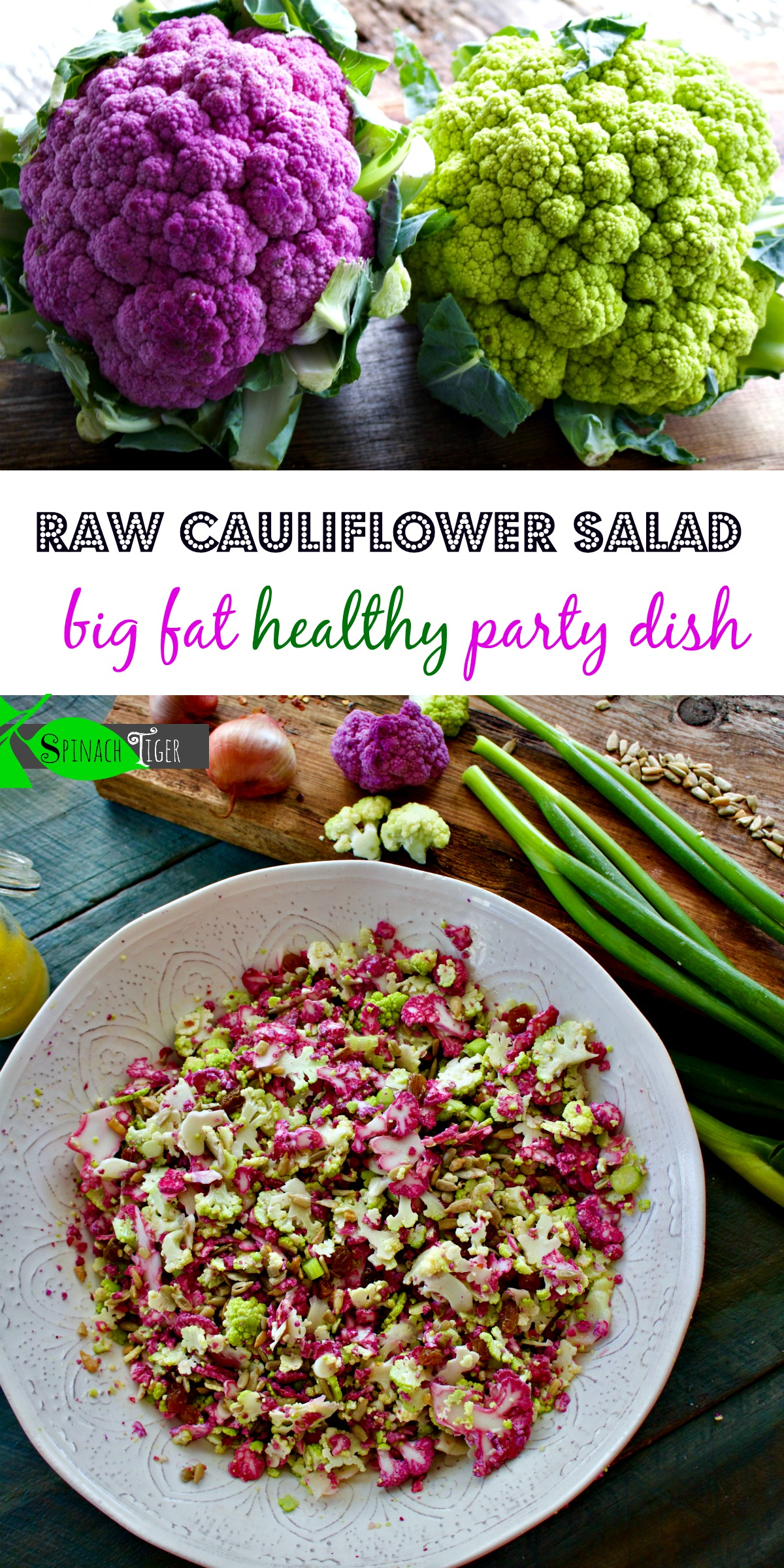 Colorful Purple Cauliflower Salad, Walnut Vinaigrette from Spinach Tiger
