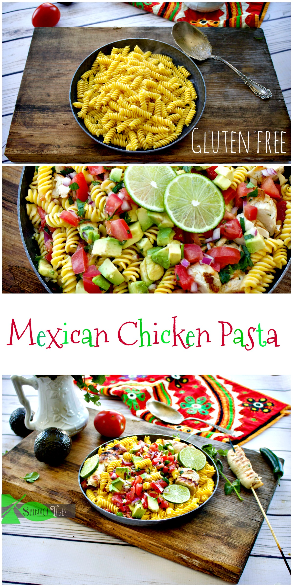 Make Gluten Free Mexican Chicken Pasta from Spinach Tiger