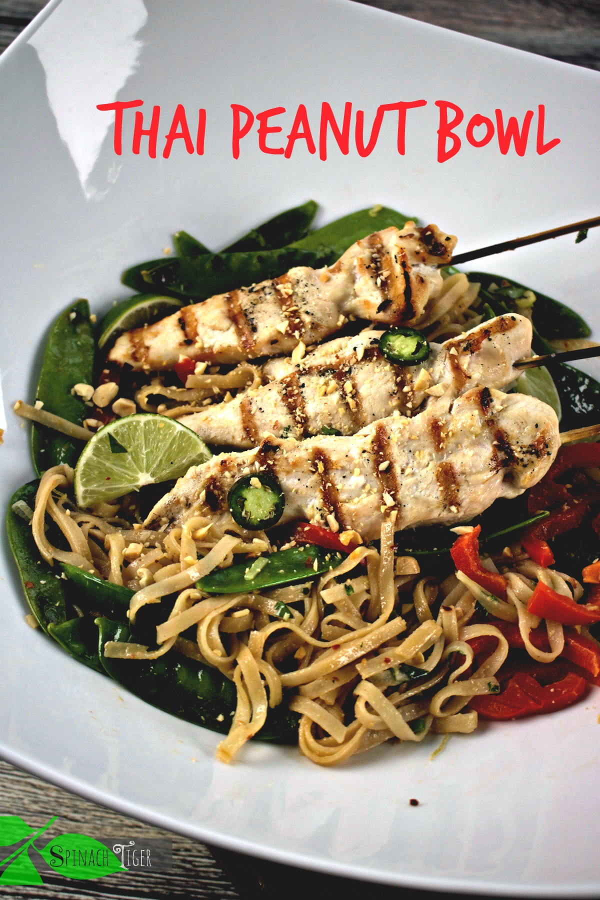 Thai Peanut Noodles with Grilled chicken Skewers from Spinach Tiger