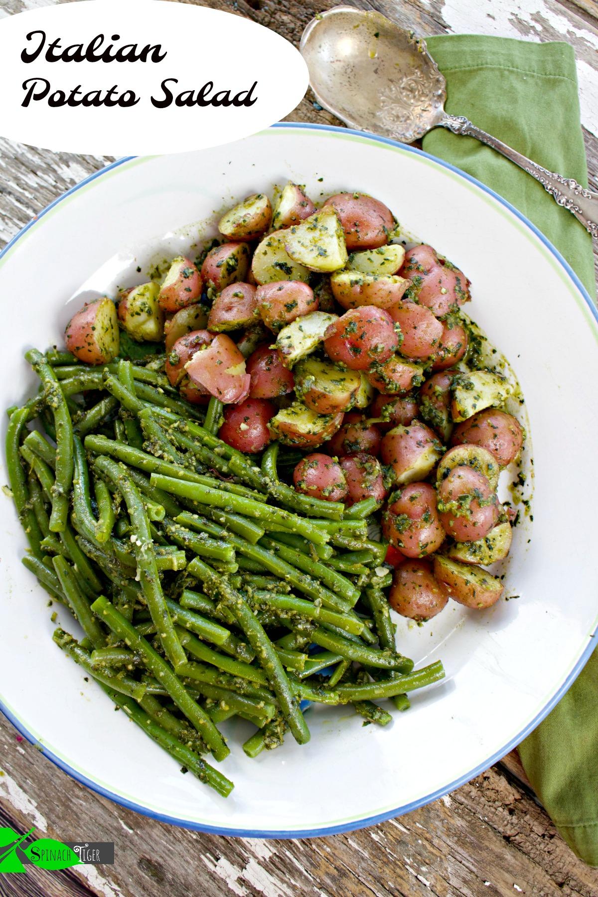 authentic pesto recipe for Italian Potato Salad from Spinach TIger
