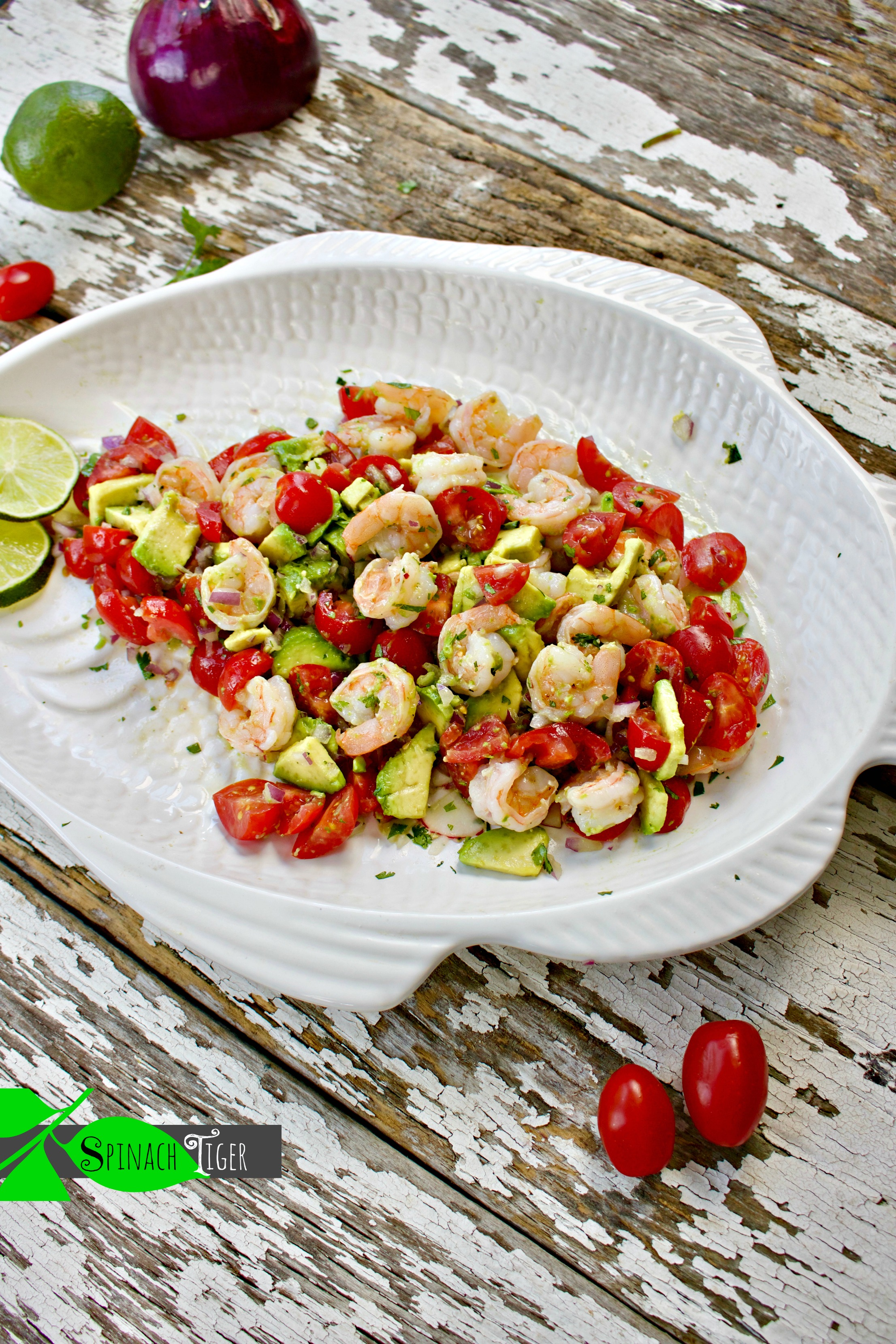 Healthy Shrimp Avocado Salad Recipe from Spinach Tiger