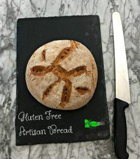 Delicious crusty gluten free artisan bread. Original recipe from America's Test Kitchen. Delicious, chewy, crusty bread! with Video. #glutenfreeartisanbread #spinachtiger via @angelaroberts