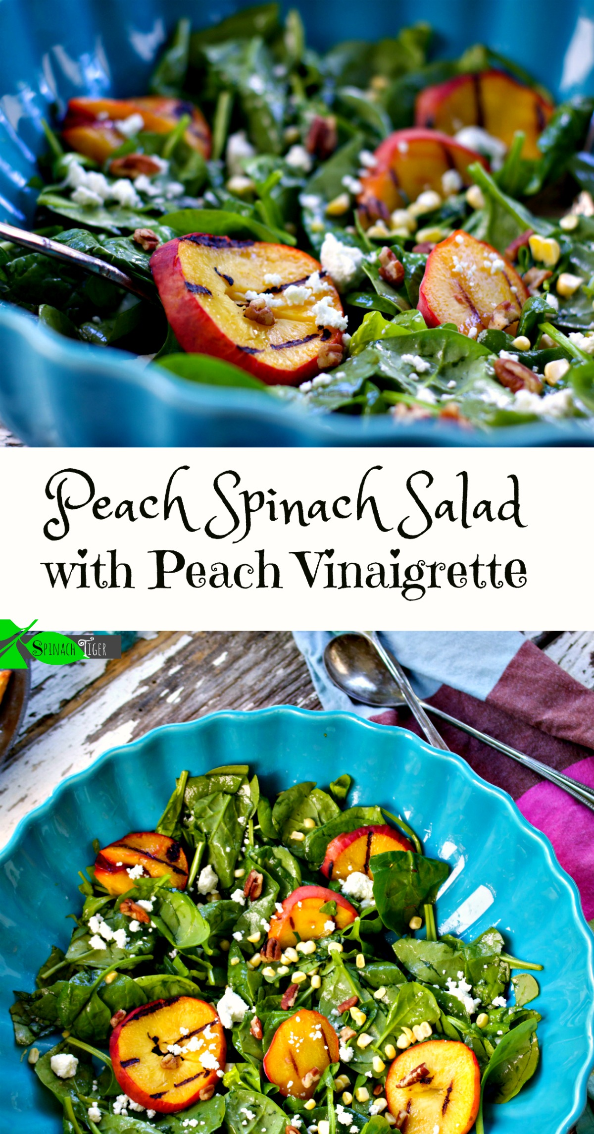 Peach Spinach Salad with Peach Vinaigrette from Spinach Tiger