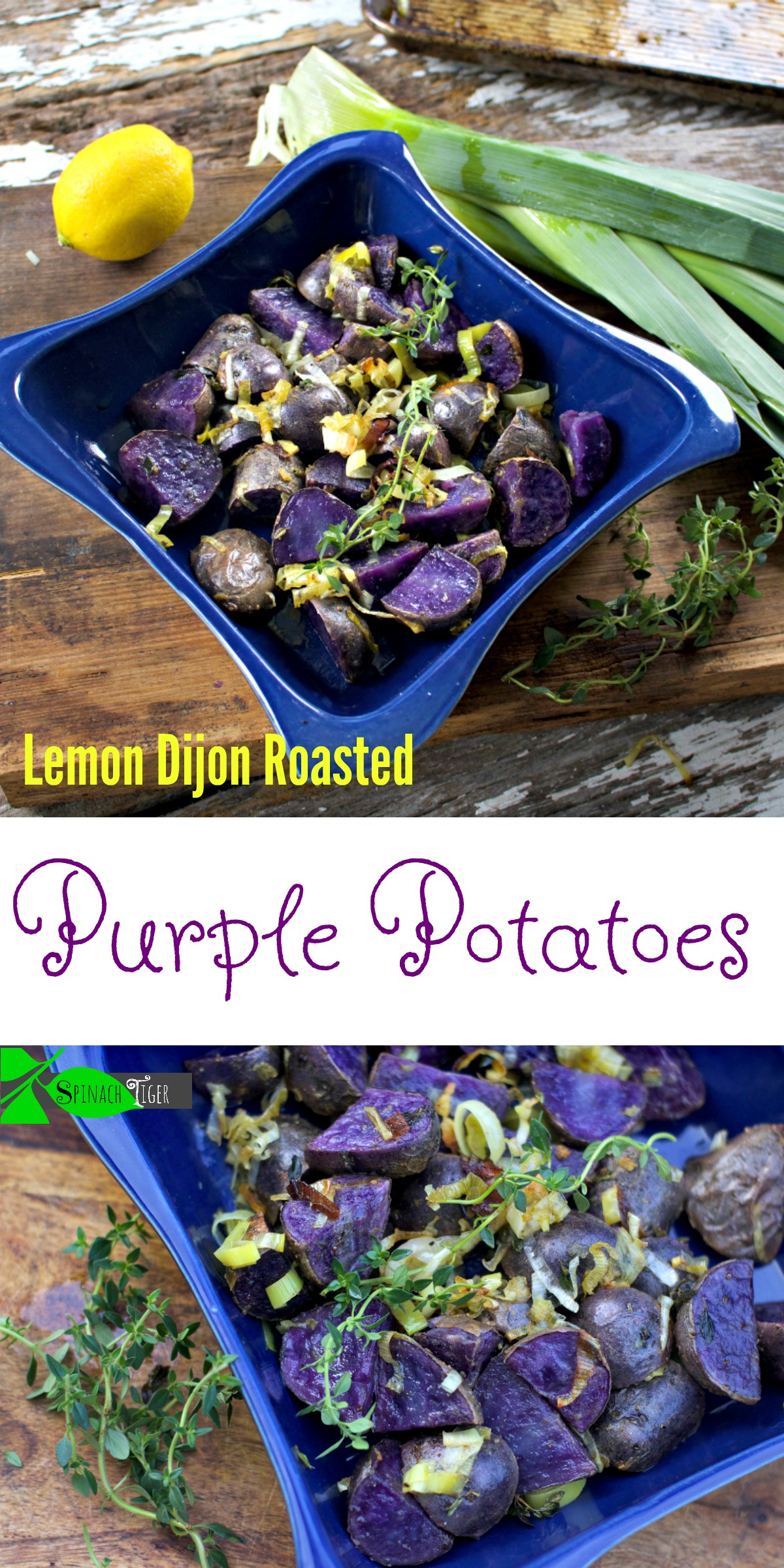 Lemon Dijon Roasted Purple Potatoes from Spinach Tiger