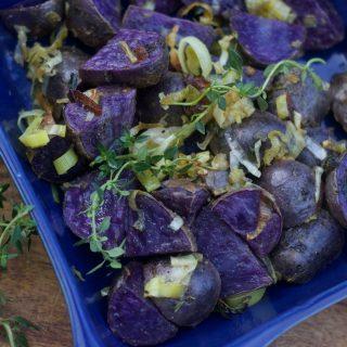 Big Fat Healthy Lemon Dijon Roasted Purple Potatoes