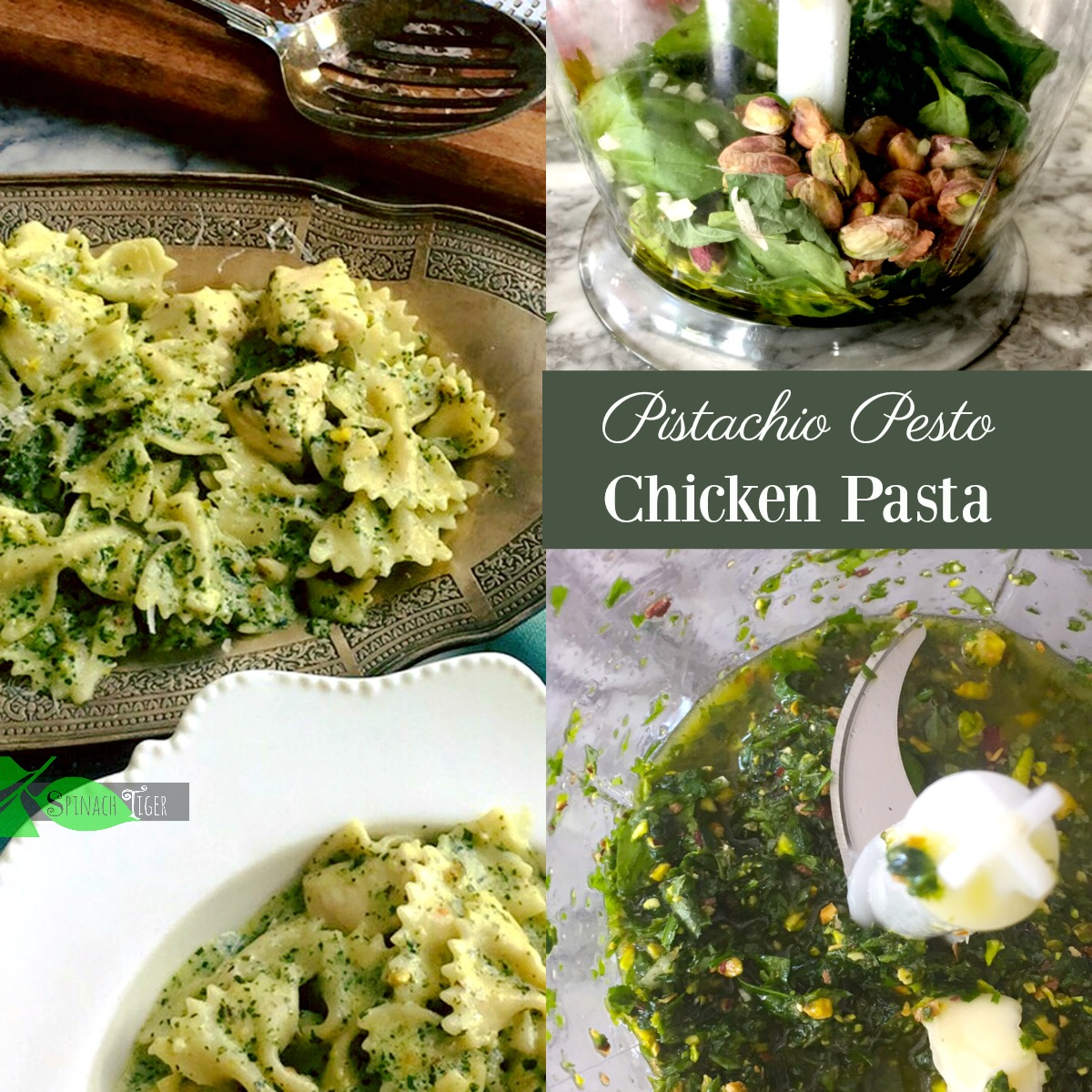 Healthy Chicken Pasta with Creamy Pesto from Spinach Tiger