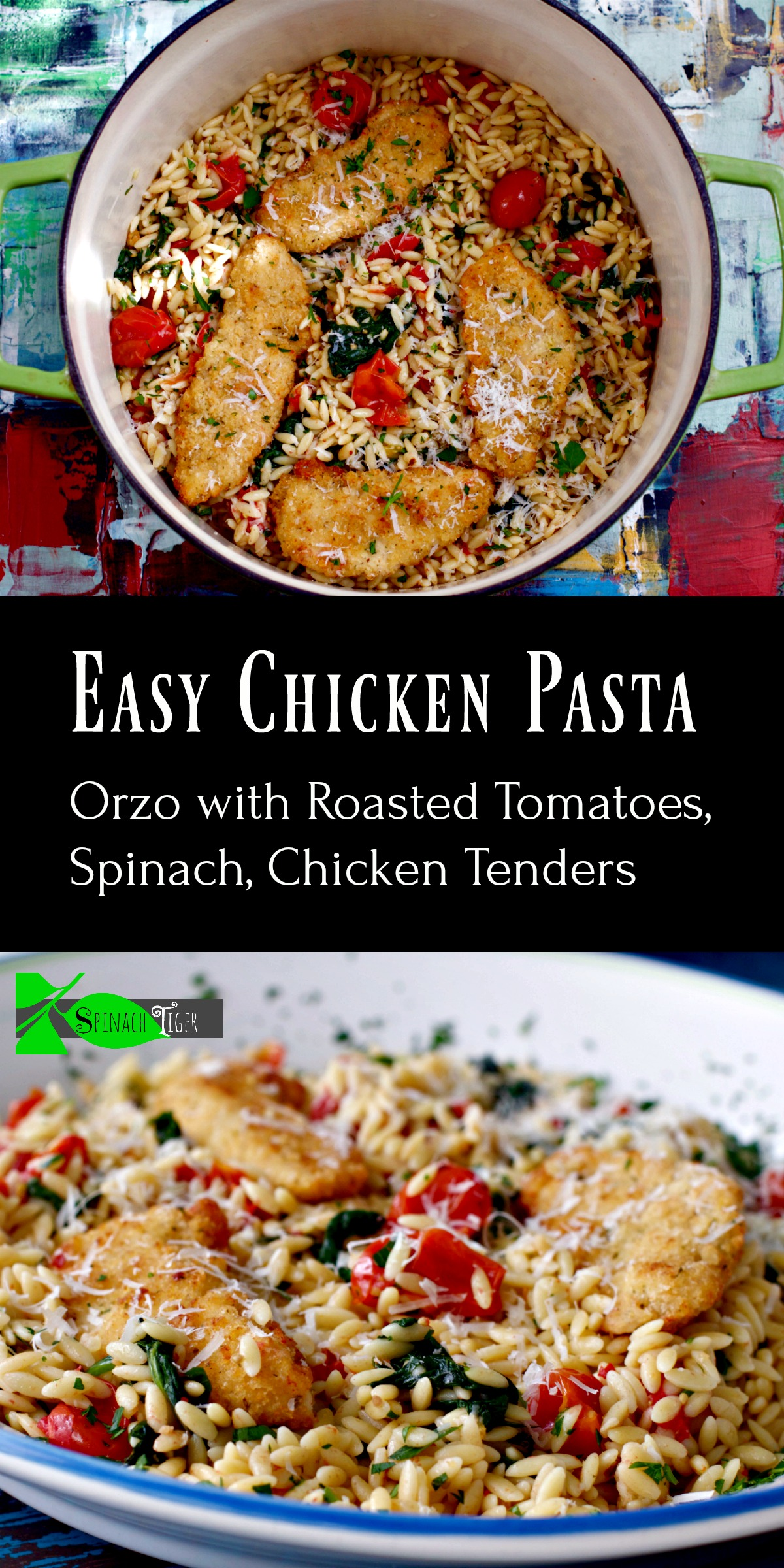 Italian Chicken Tenders with Orzo Pasta Recipe from Spinach Tiger #chickendinner #chickentenders #easydinner #Italianfood #orzo