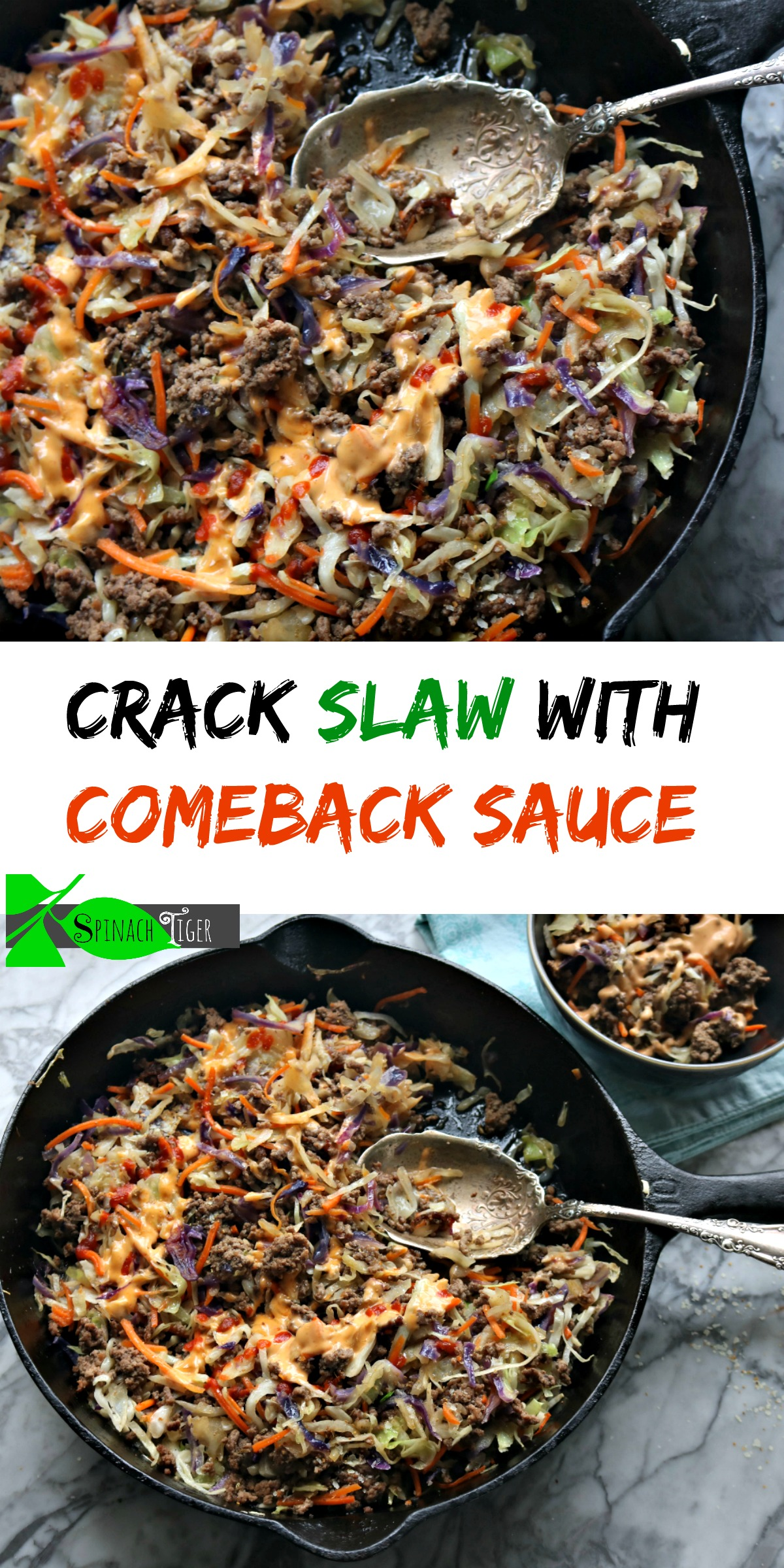 Crack slaw with come back sauce. Keto friendly, low carb, made with ground beef and cole slaw bag. #easydinner. #ketodinner #crackslaw #spinachtiger via @angelaroberts