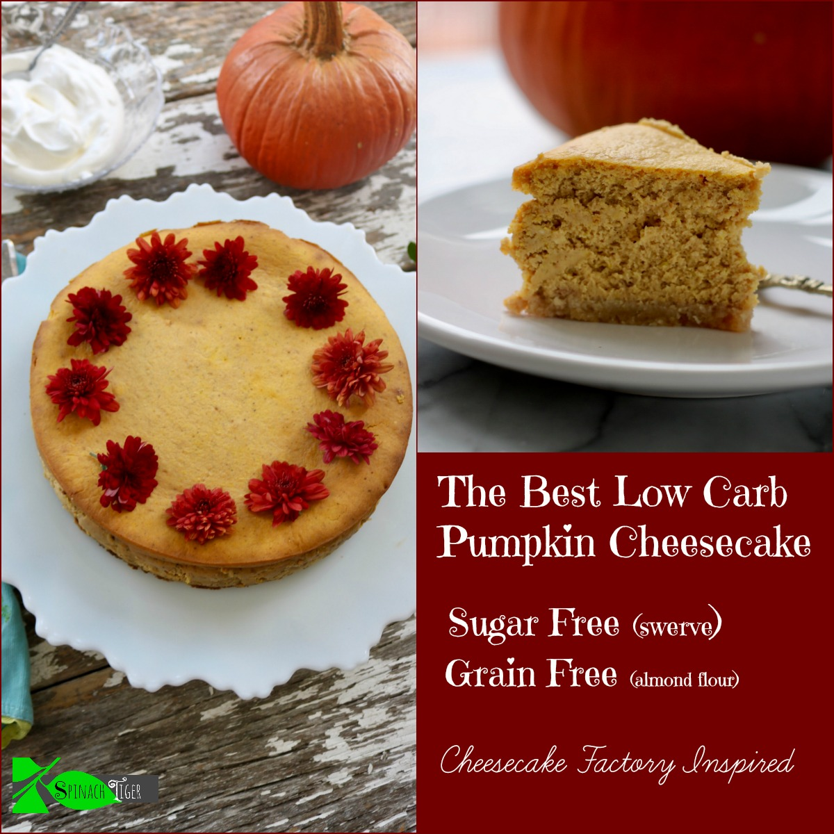 Best Pumpkin Dessert Recipes, Low Carb Pumpkin Cheesecake from Spinach Tiger