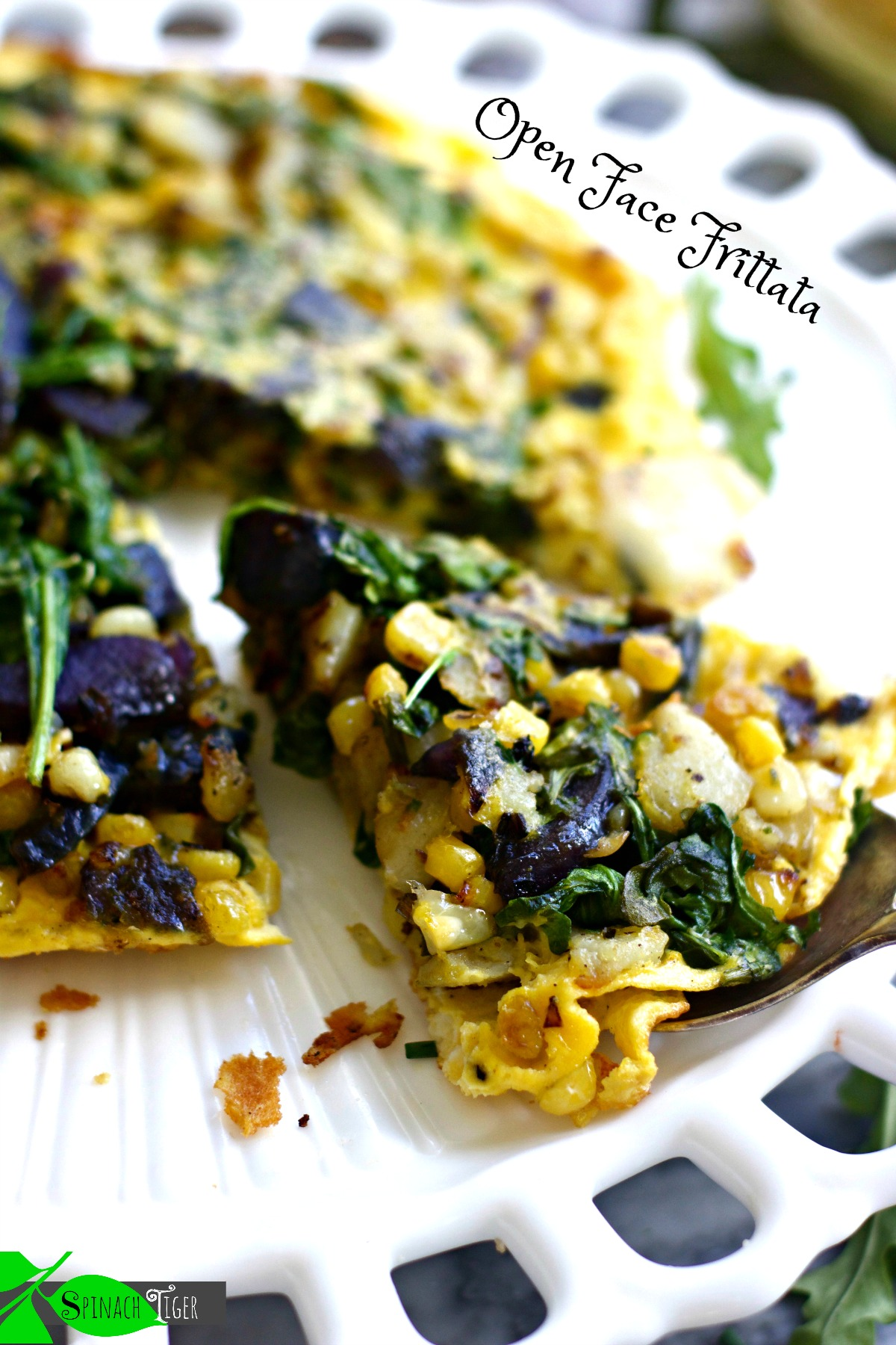 Open Face Frittata with Purple Potatoes from Spinach Tiger