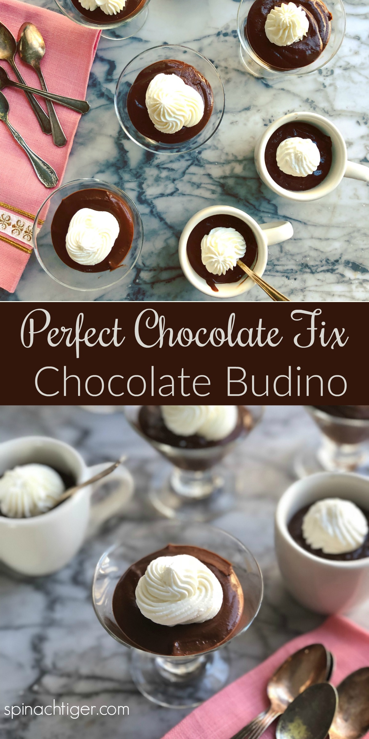 Chocolate Budino with a sugar free option. Thick delicious Italian chocolate pudding. via @angelaroberts