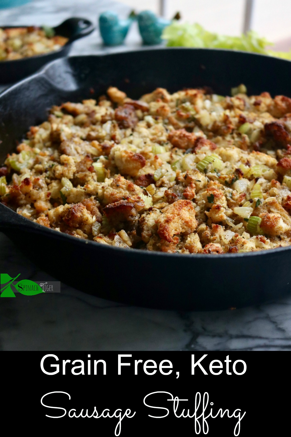 Grain Free Stuffing, Low Carb, Keto, Diabetic Friendly from spinach Tiger