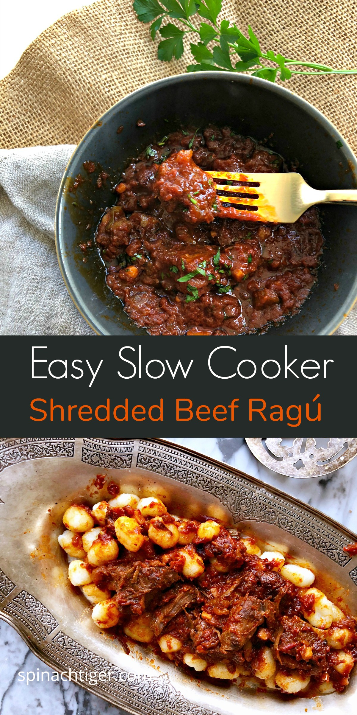 Easy Dinner. Slow Cooker Shredded Beef Ragú from Spinach Tiger