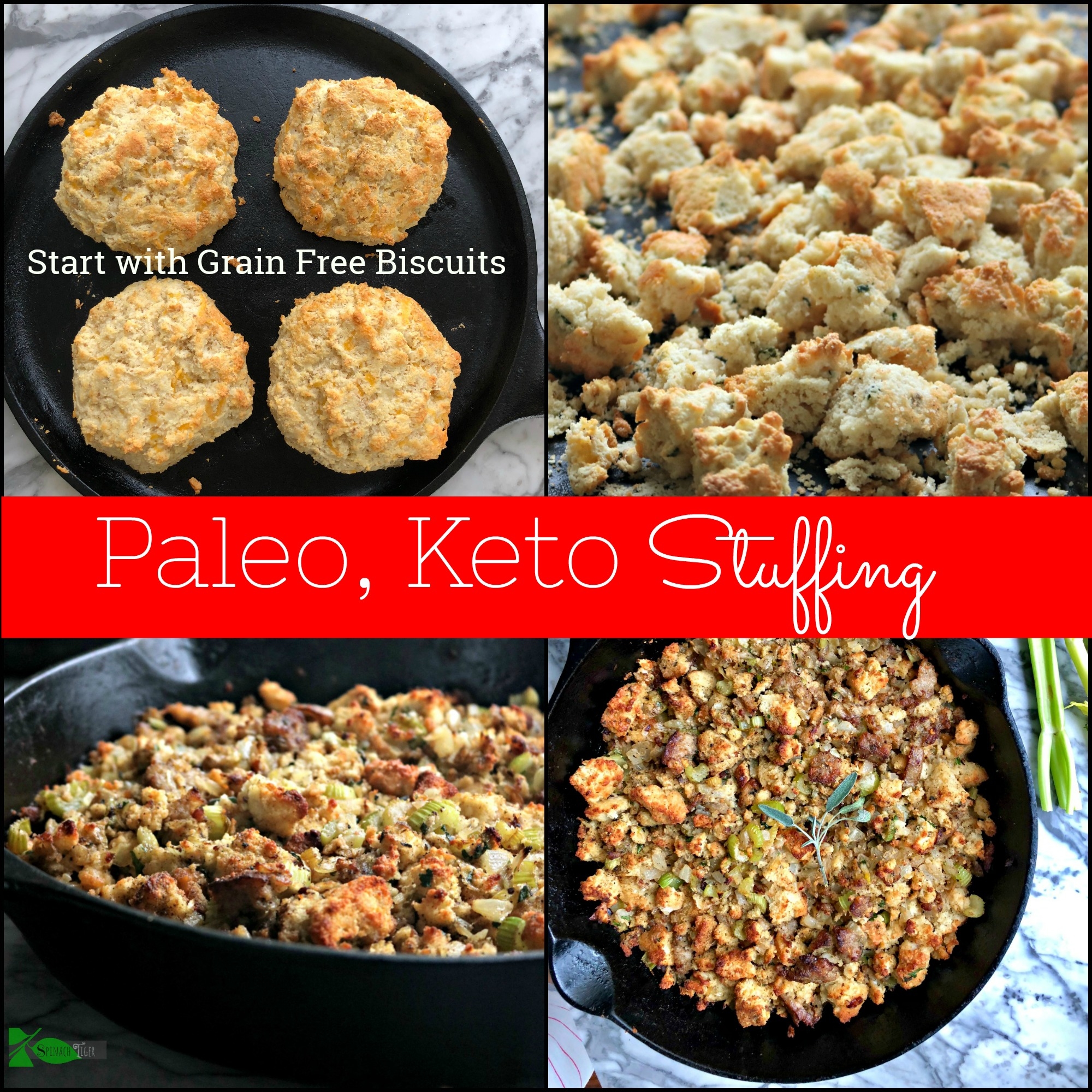 Make Grain Free Stuffing, Keto and Low Carb from Spinach Tiger