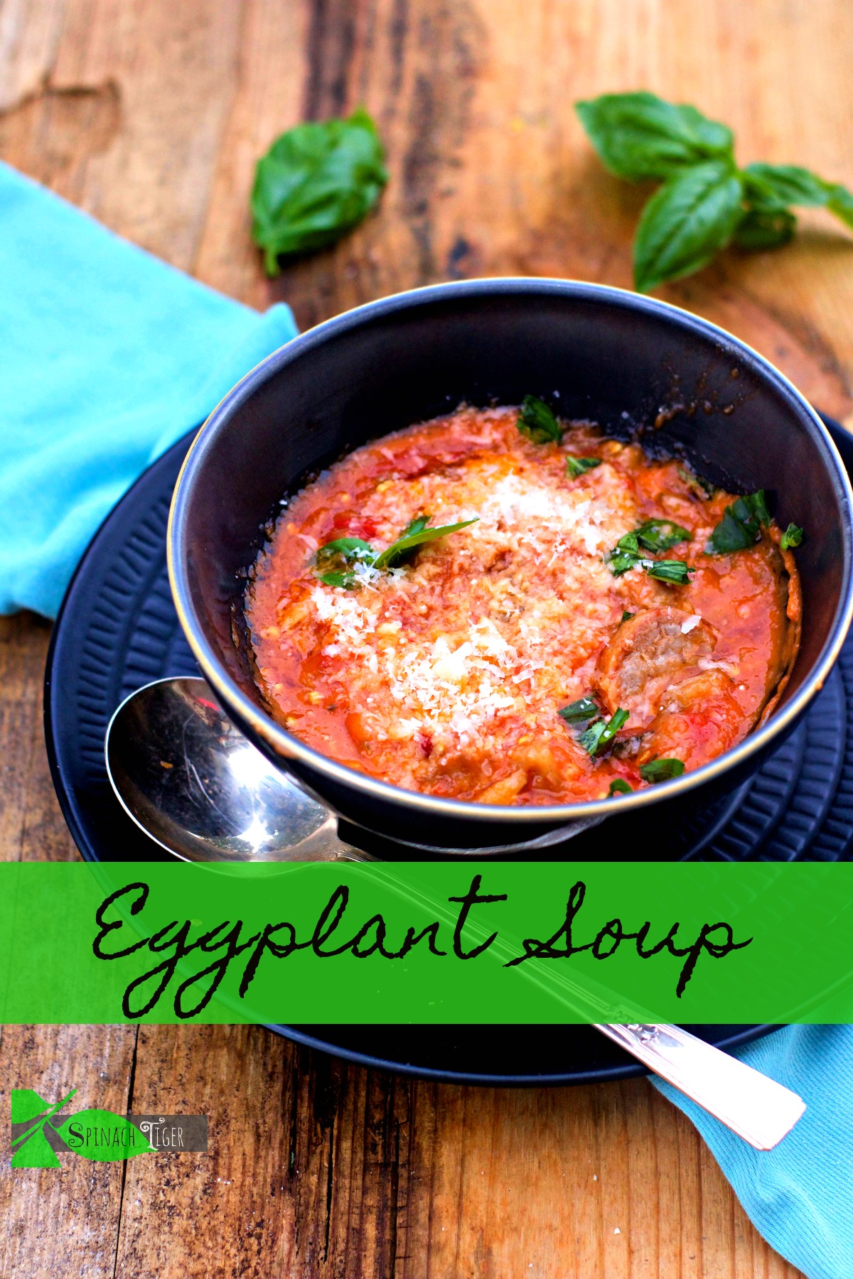 Italian Eggplant Soup with Sausage from Spinach Tiger