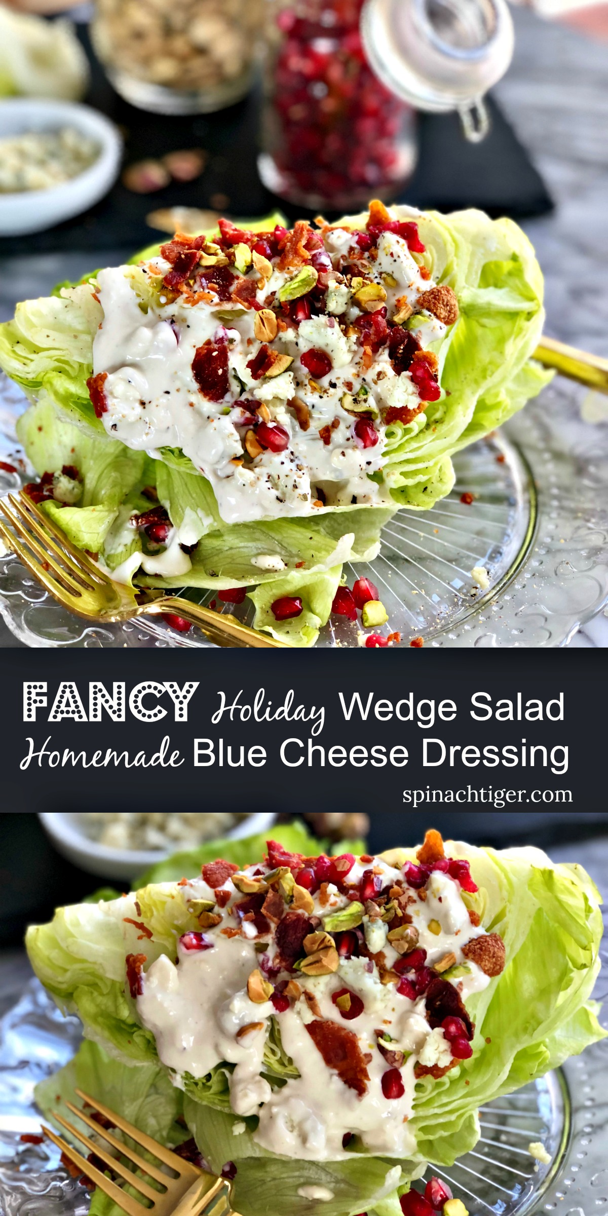 Fancy Holiday Party Wedge Salad from Spinach Tiger