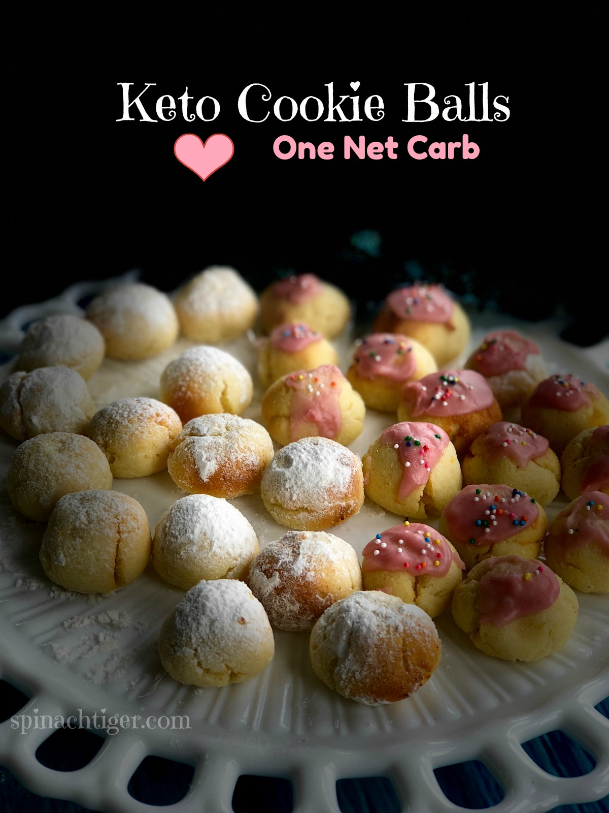 Keto RIcotta Cookies made with coconut flour. Can be rolled in Swerve confectioner's or unsweetened cranberry juice glaze. #ketocookies #ketochristmascookies #spinachtiger via @angelaroberts