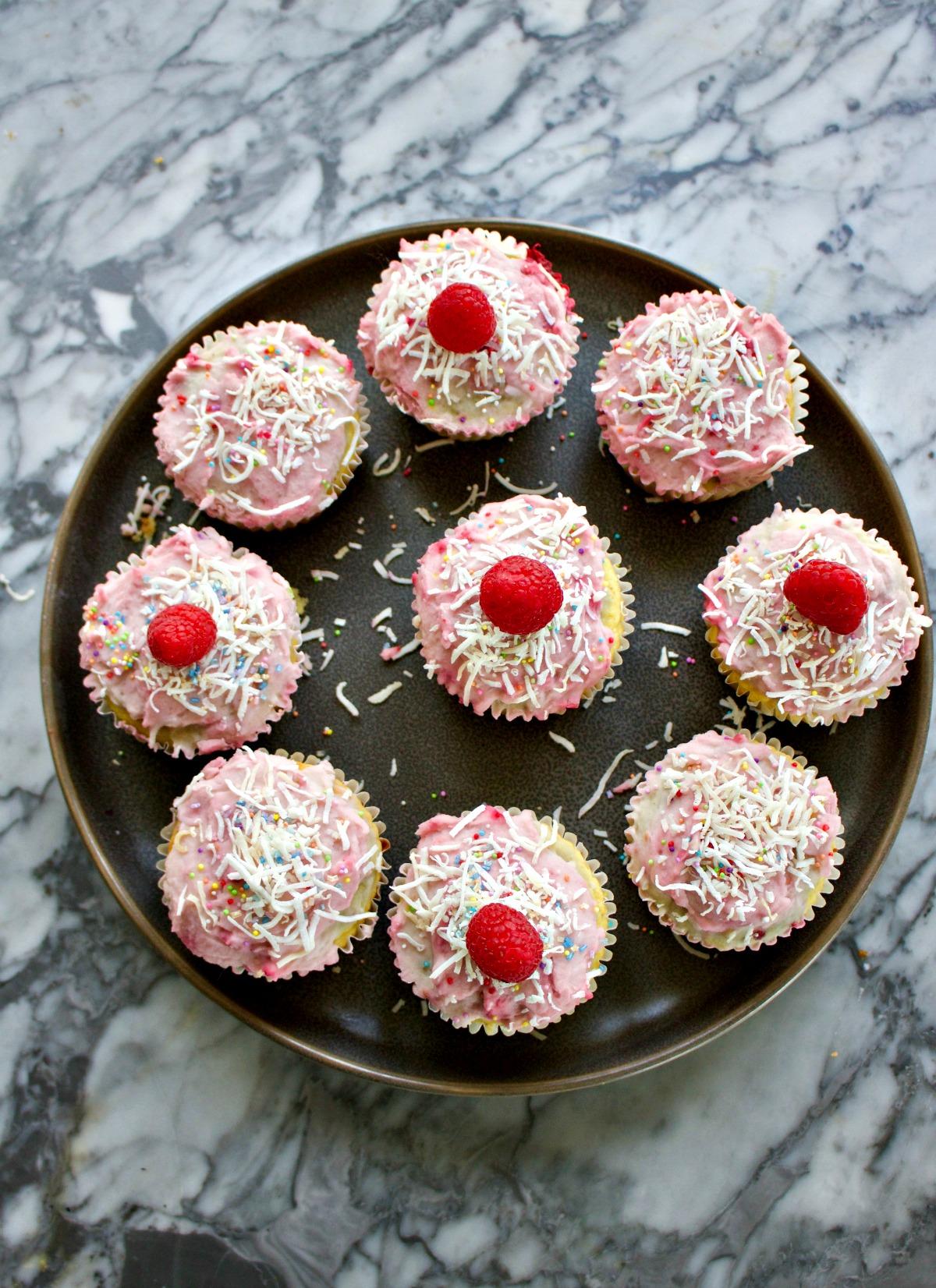 Raspberry Grain Free Coconut Cupcakes