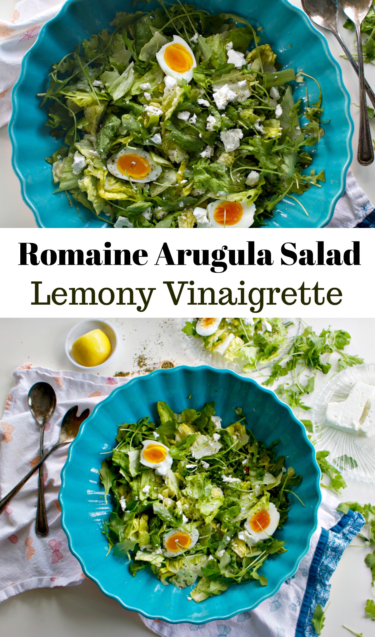 Romaine Arugula with Lemon Vinaigrette Recipe with Soft Hard Boiled Eggs from Spinach Tiger