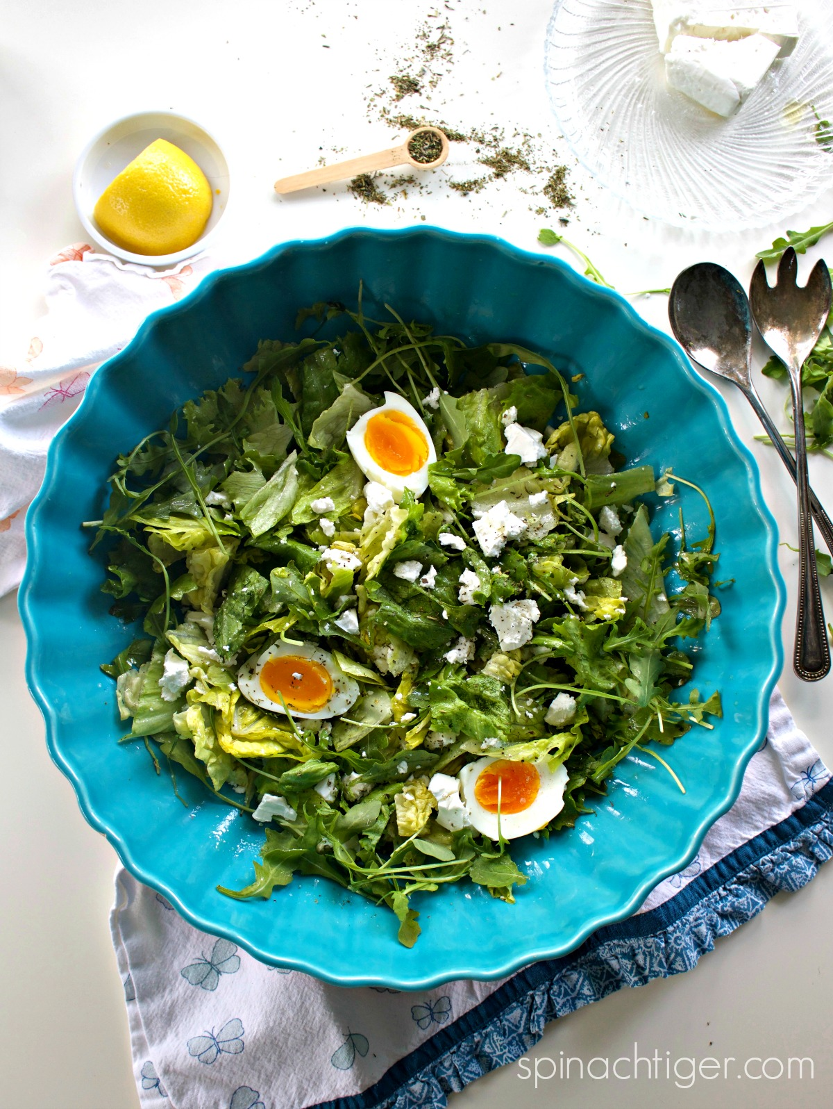 Make Salad with Lemon Vinaigrette Recipe with Soft Hard Boiled Eggs from Spinach Tiger