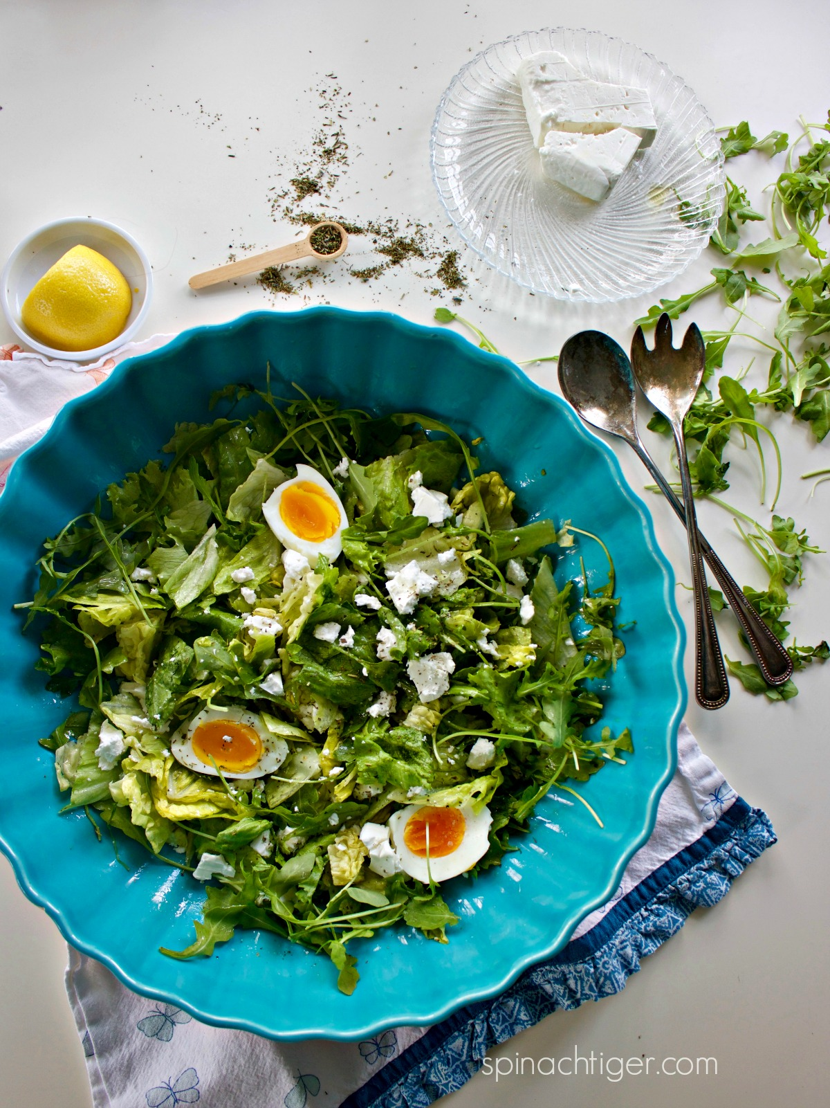 Green Salad Lemon Vinaigrette Recipe with Hard Soft Boiled Eggs from Spinach Tiger