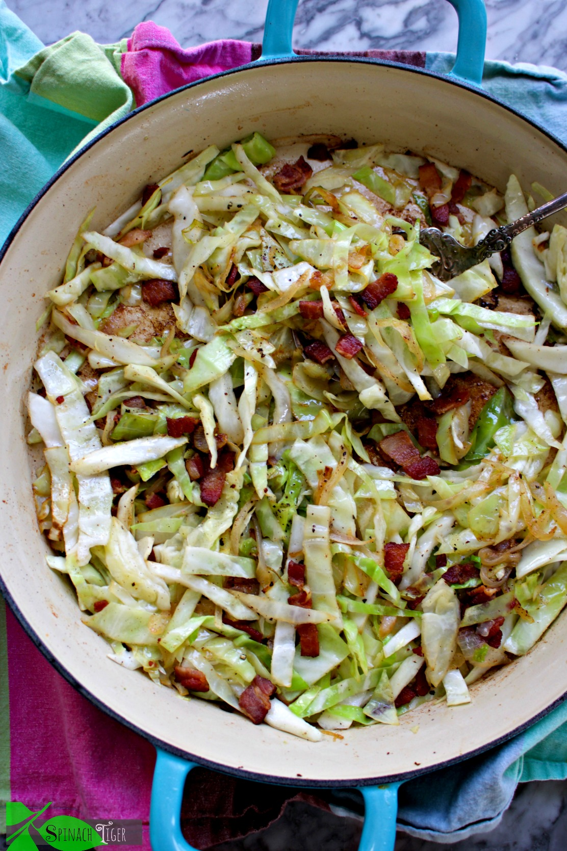 Sauteed cabbage with bacon, onion, dill, lemon zest from Spinach Tiger