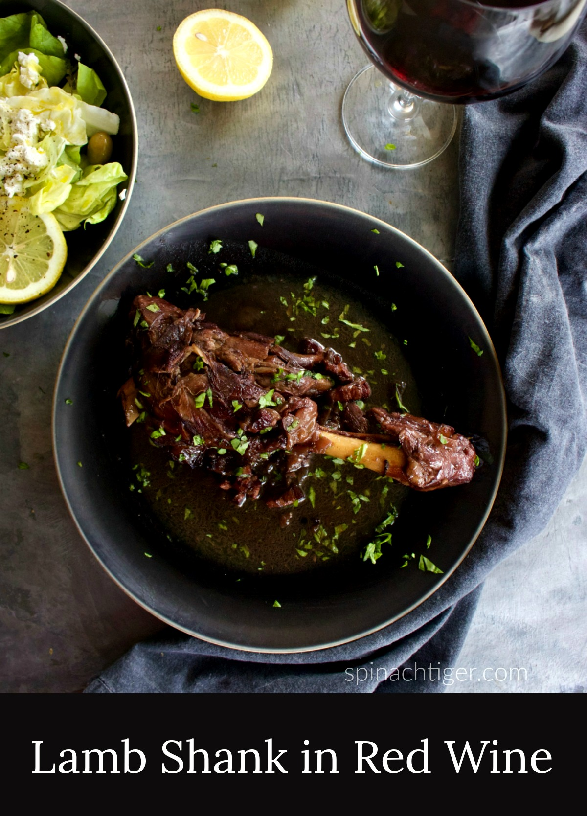 Red Wine Braised Lamb Shanks from Spinach Tiger (slow cooker or dutch oven)