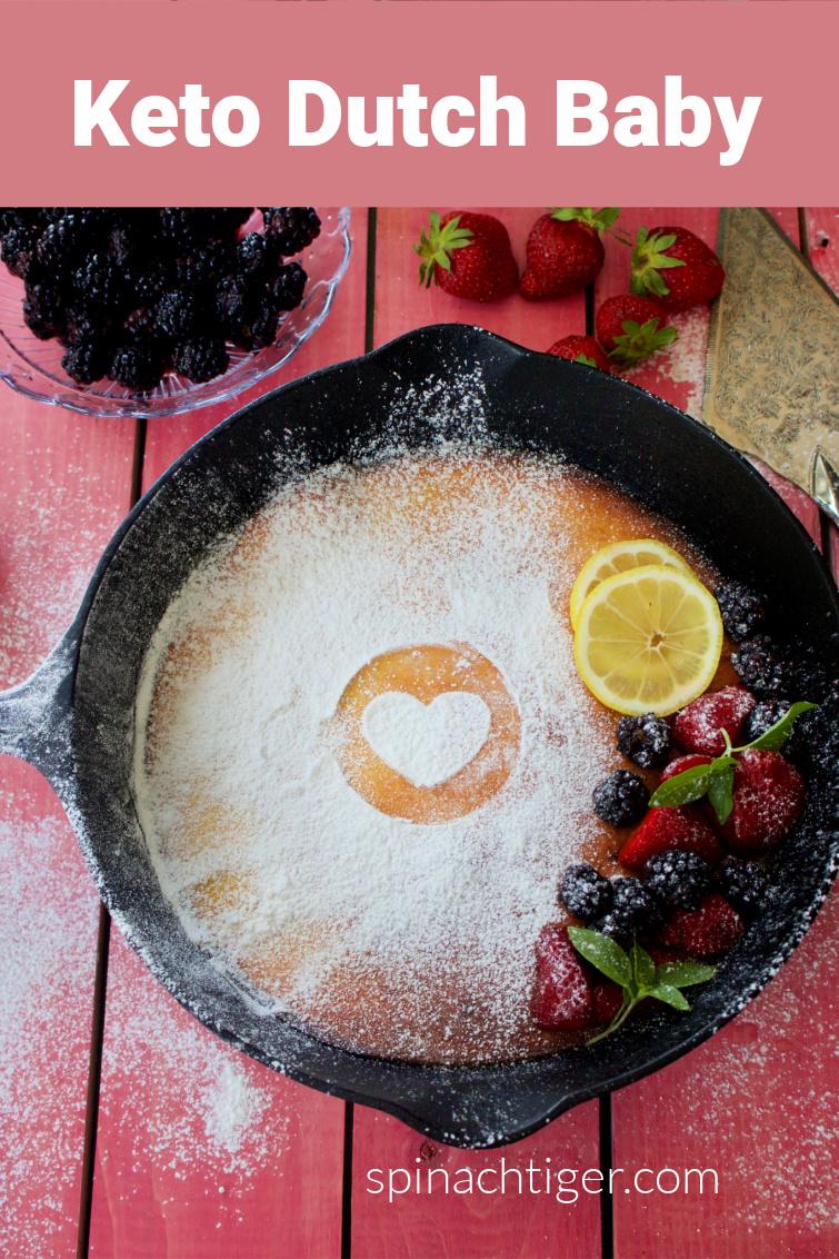 Keto Dutch baby, a large easy to make baked pancake, made with almond flour, coconut flour, sour cream and eggs. #lowcarbpancake #ketopancake via @angelaroberts