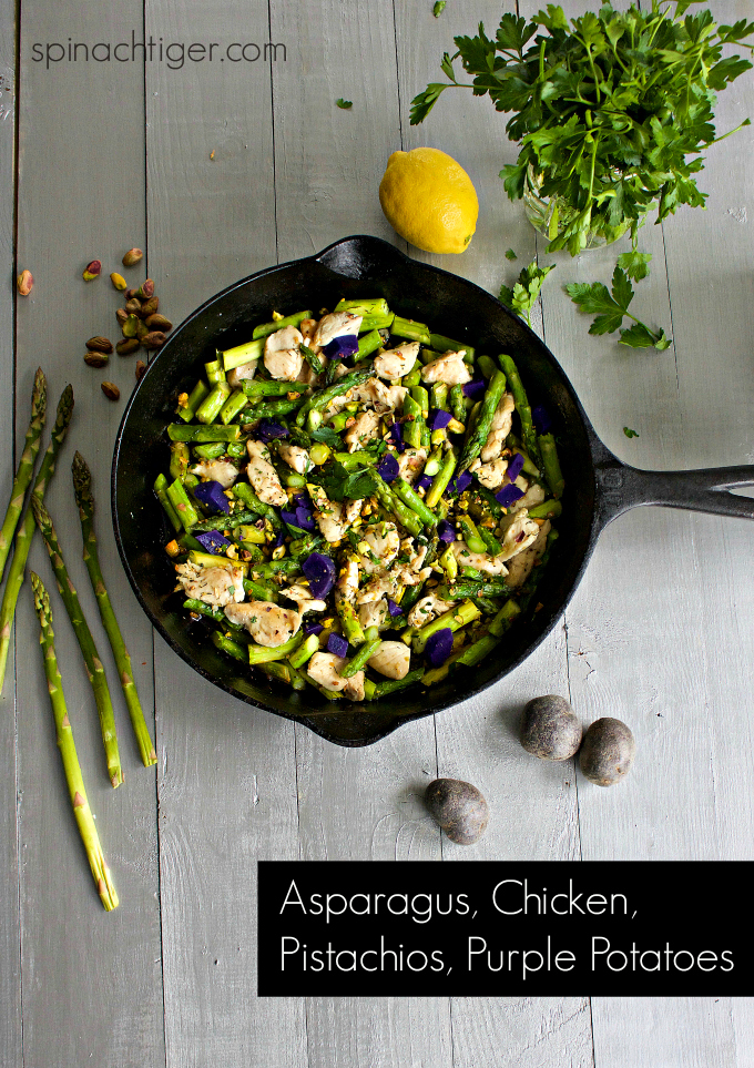 Asparagus and Chicken Stir-fry with a Mediterranean Twist. Capers, Lemon, Pistachios. Easy dinner, Low-Carb, Paleo Dinner. #spinachtiger #asparagusstirfry #asparagus #chicken #chickenstirfry #ketodinner. via @angelaroberts