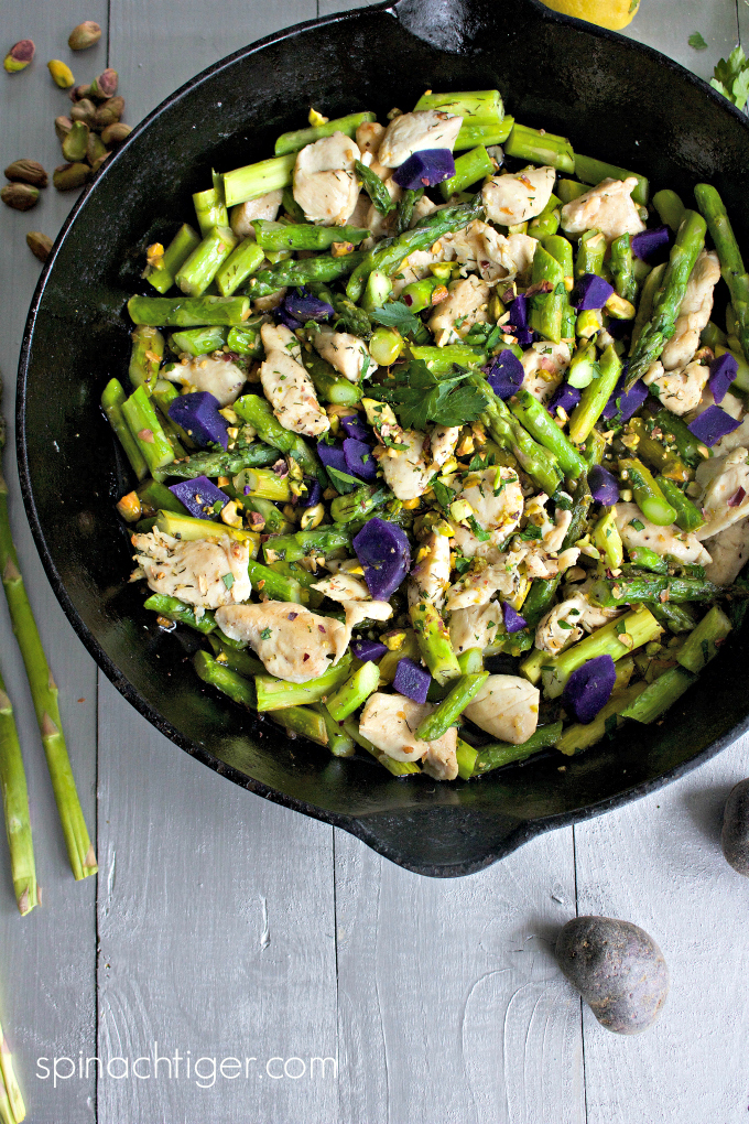 Chicken and Asparagus Stir-Fry Recipe with Capers, Lemon, Pistachios from Spinach Tiger