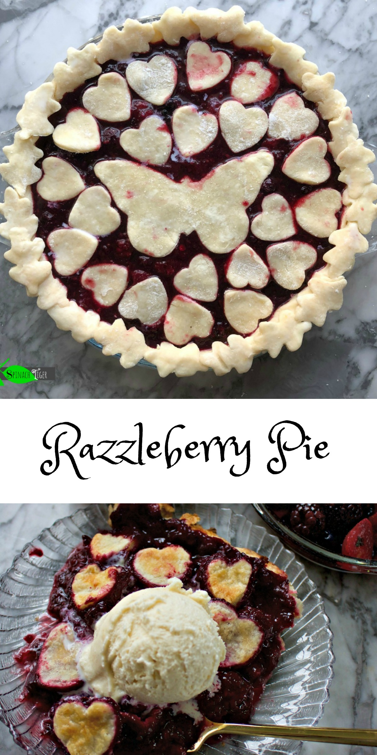 Razzelberry Pie recipe from Spinach Tiger (Mixture of several berries and a gluten free option)