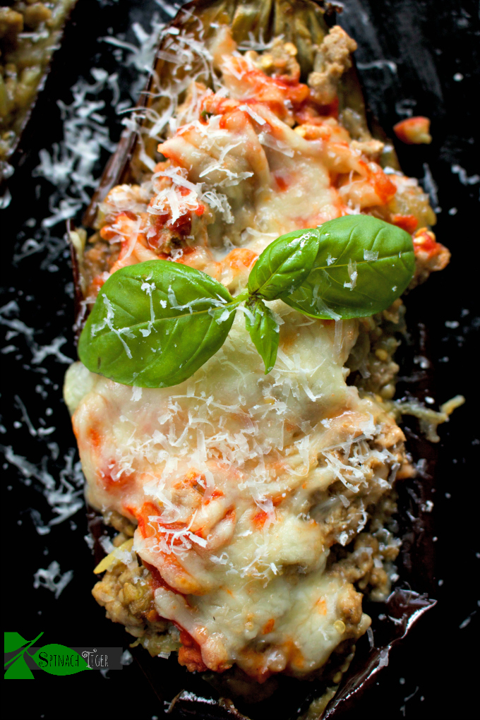 Italian Stuffed Eggplant with Ground Veal from Spinach Tiger