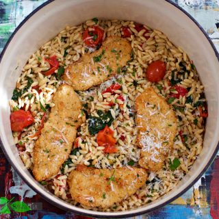 Italian Chicken Orzo Pasta with Roasted Tomatoes, Spinach