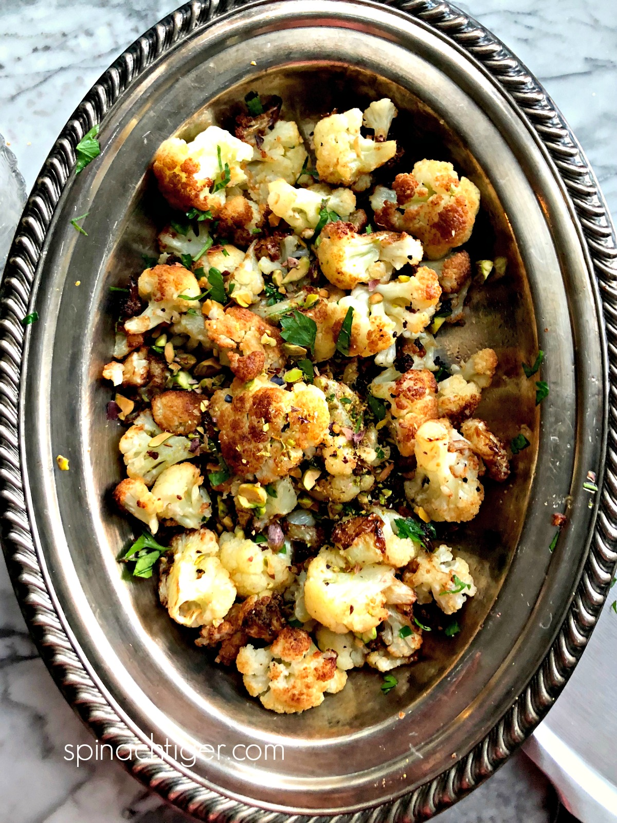 Flash Fried Cauliflower with Pistachios from Spinach Tiger #cauliflower #keto #low-carbrecipe