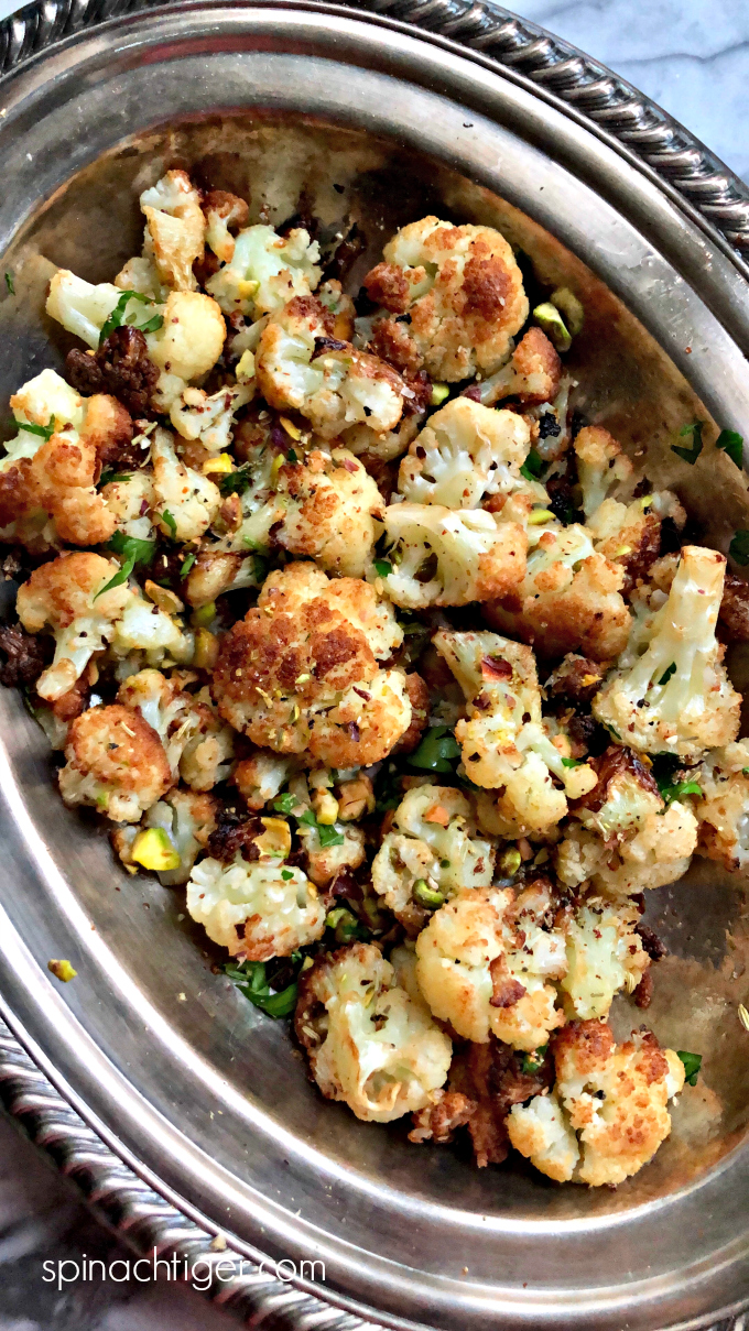 Flash Fried Cauliflower with Pistachios from Spinach Tiger #cauliflower #keto