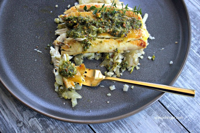 Baked Red Snapper Recipe with Pistachio Pesto from Spinach Tiger