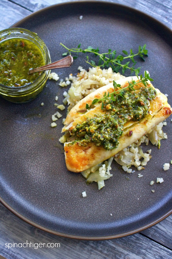 Baked Red Snapper Recipe with Pistachio Pesto with Cauliflower Rice from Spinach TIger