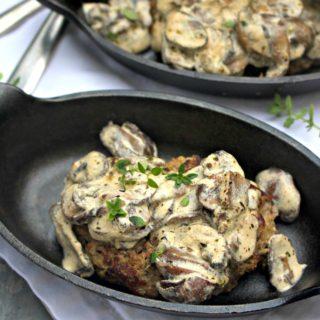 Burger Steak Recipe with Sour Cream Mushroom Sauce (Low Carb)