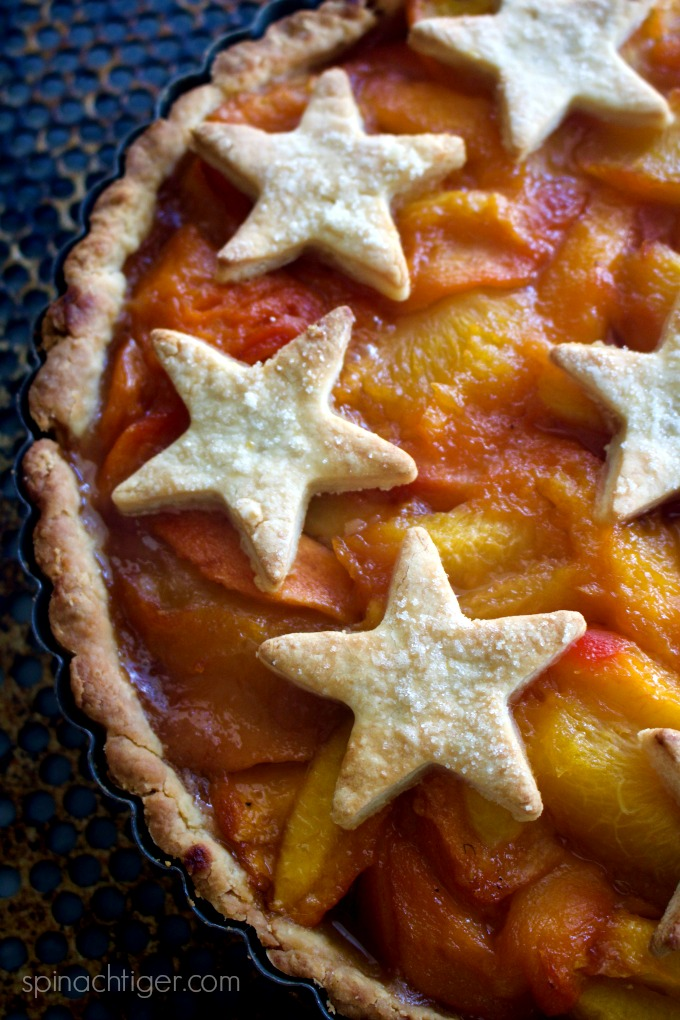 Sugar Free, Gluten Free Peach Tart from Spinach Tiger