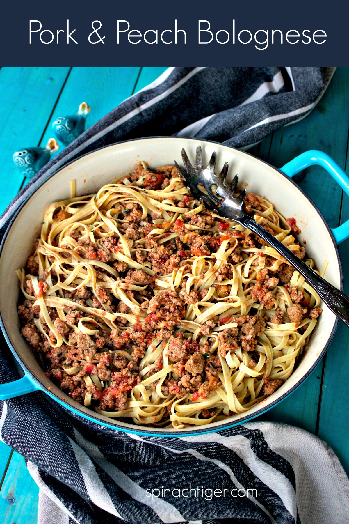 Pork and Peach Bolognese from Spinach Tiger. #Italianfood #pasta #bolognese #pork #peaches