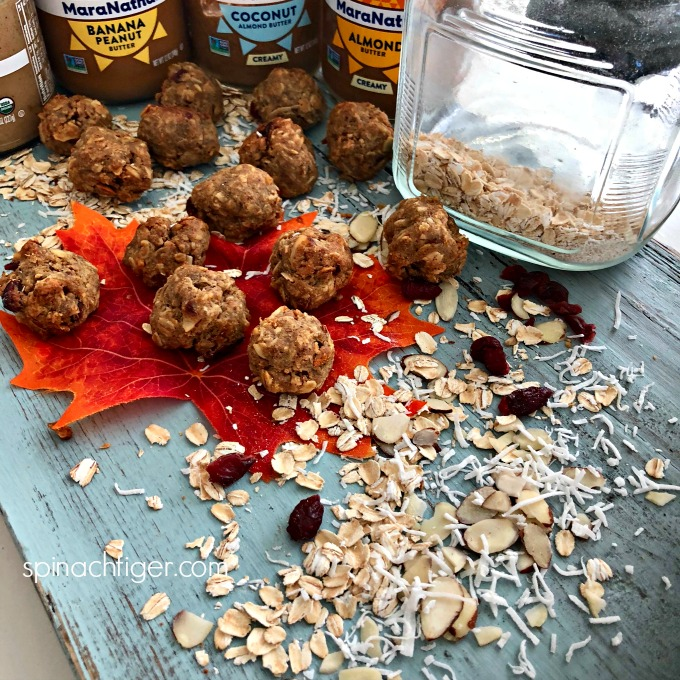 Energy Balls Recipe with Oats, Sugar Free, Low Carb from Spinach TIger #energybars #sugarfree #almondbutter